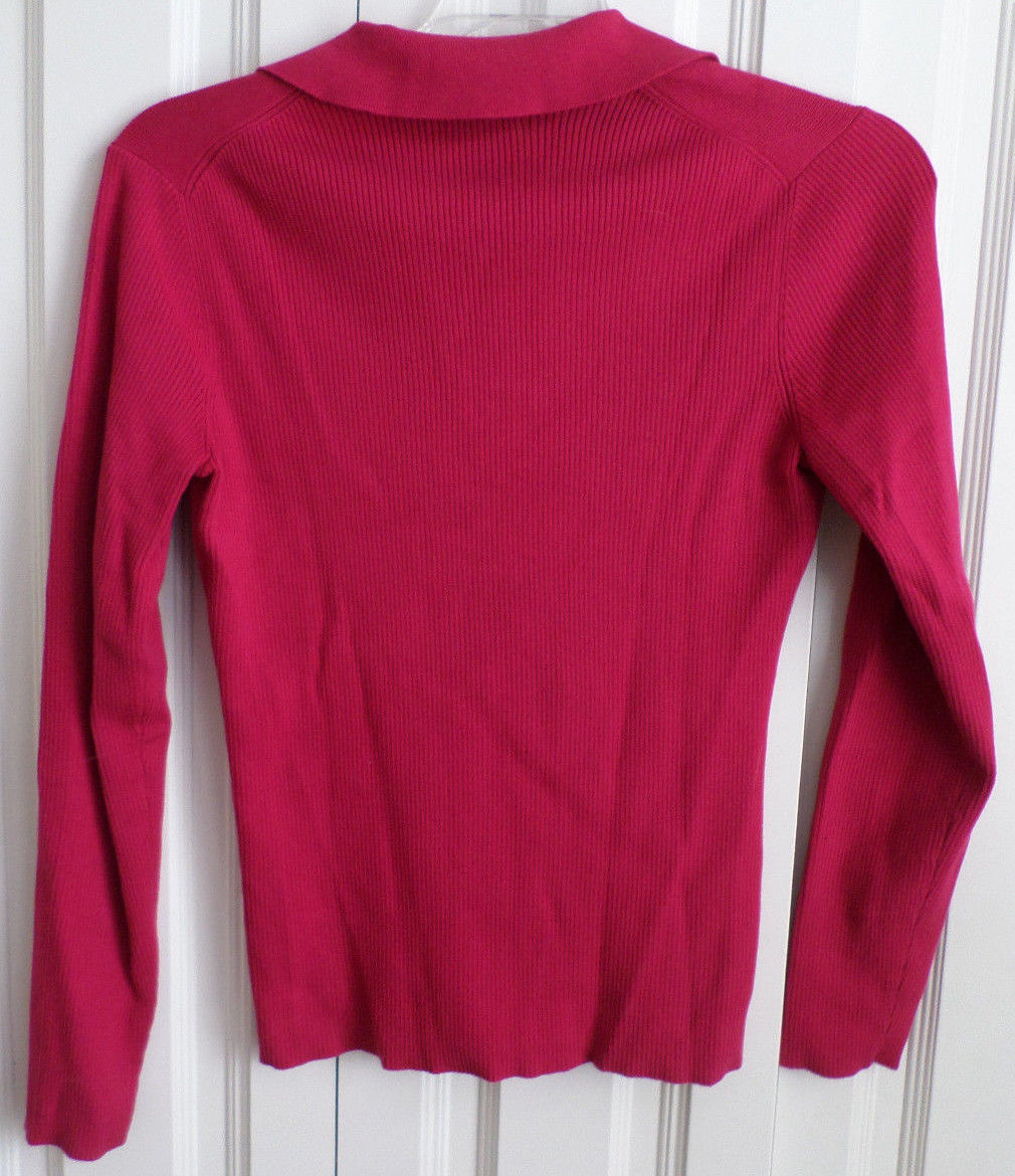 Tommy Hilfiger Long Sleeve Pink V Neck Ribbed Sweater W/ Collar ...