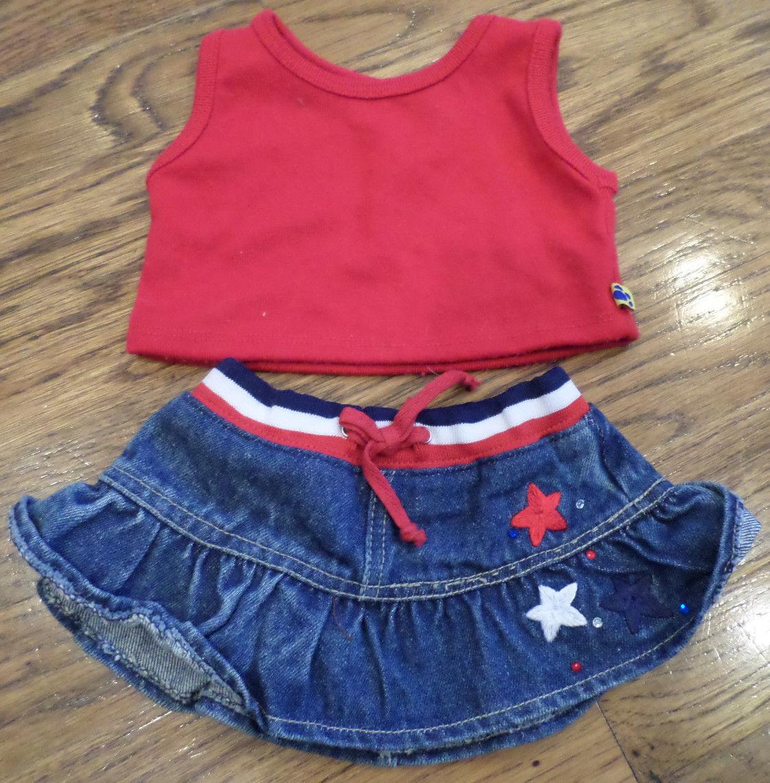 Build a Bear Outfit Set Red White Blue Skirt & Top Set Shirt | eBay