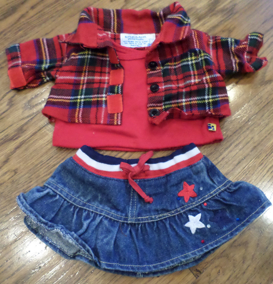 Build a Bear Outfit Set Red White Blue Skirt & Top Set Shirt | eBay