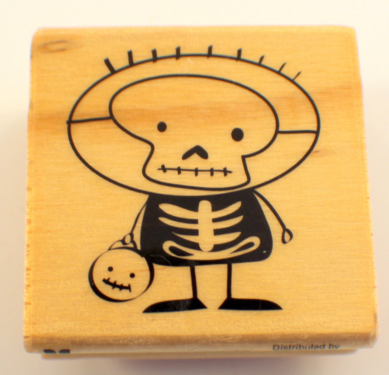 Craft smart happy halloween skeleton wooden rubber stamp for Rubber stamps arts and crafts