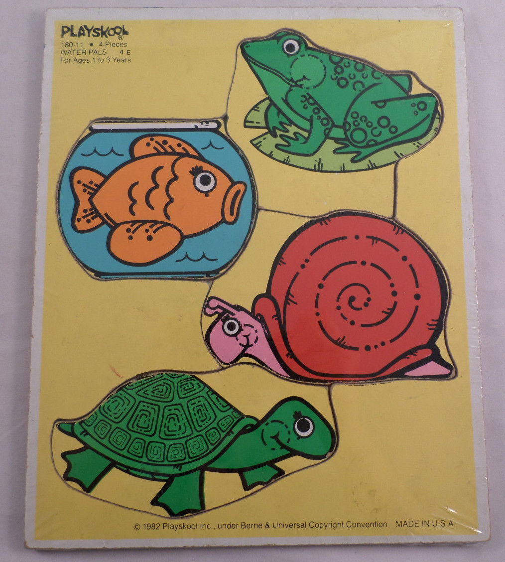 Playskool play school vintage wooden puzzle water pals for Turtle fish games