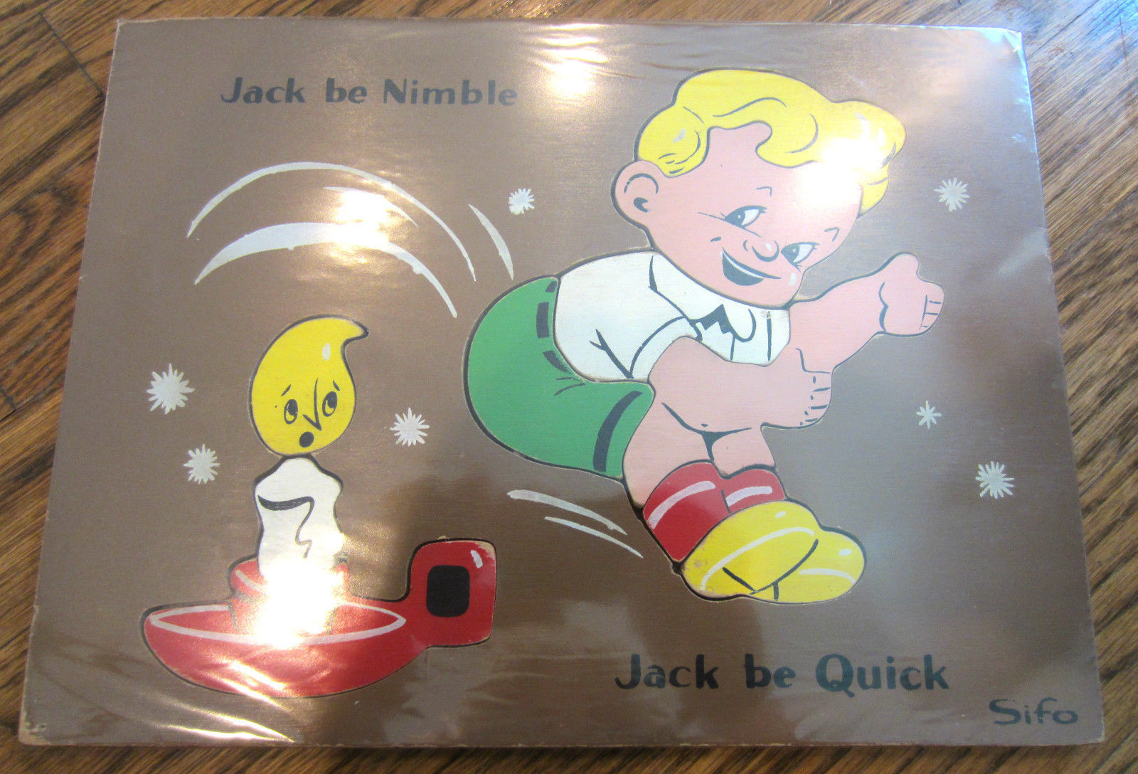 sifo vintage wooden puzzle jack be nimble jack be quick jump over candle stick ebay. Black Bedroom Furniture Sets. Home Design Ideas