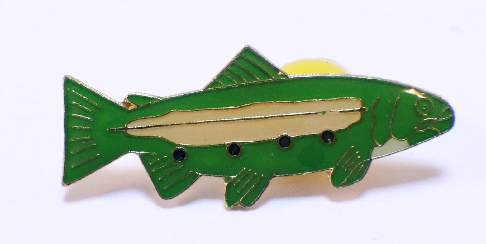 Fishing fish hat lapel pin dragonfly whispers for Fishing hat pins