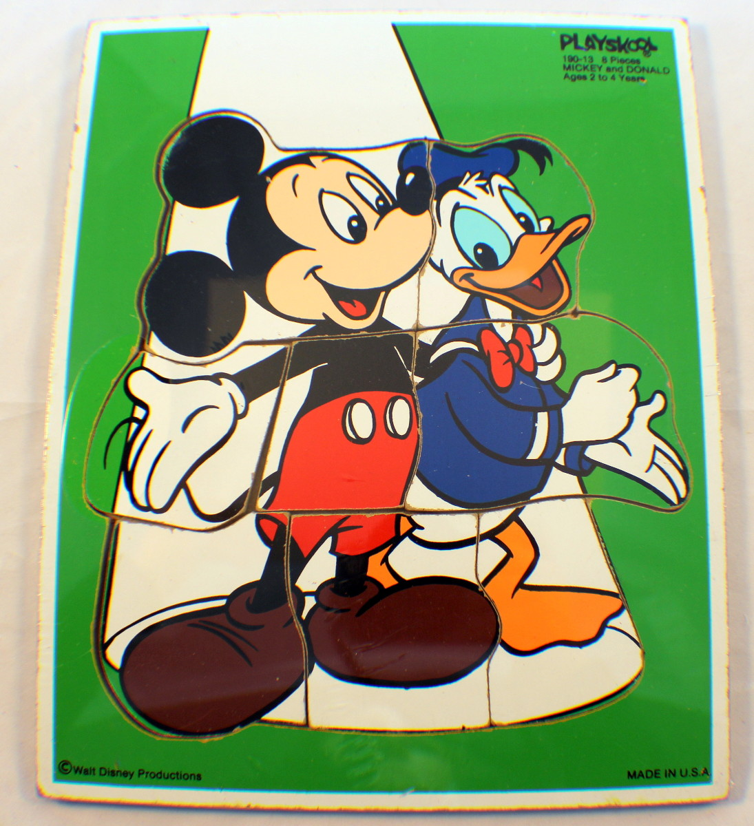 Playskool Vintage Wooden Puzzle Mickey Mouse Donald Duck Best