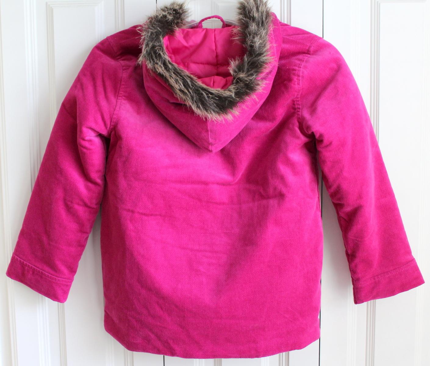 Gymboree Sz 7 8 Winter Fuschia Pink Coat Surround Fur Hood Quilted