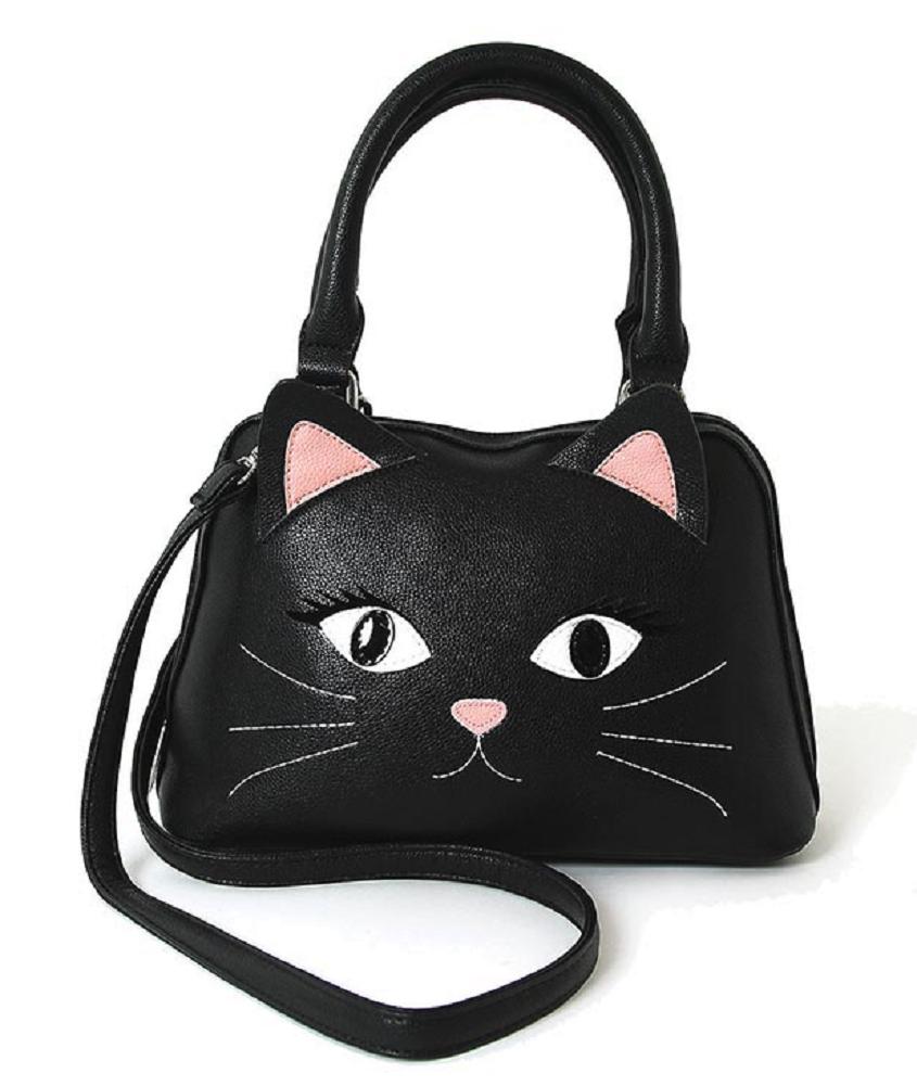 Sleepyville Critters Black Cat Face Satchel In Vinyl