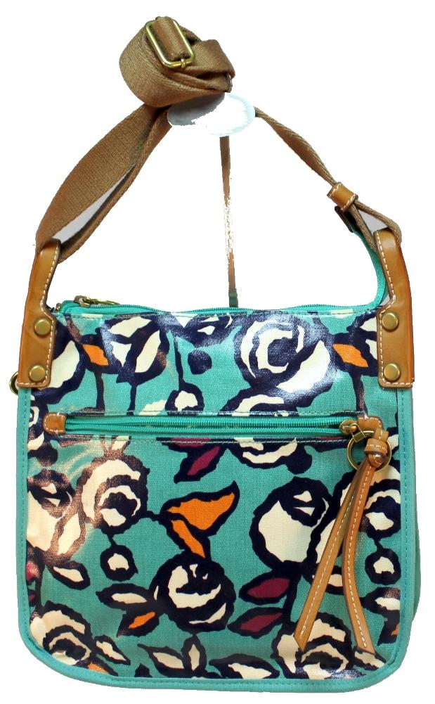 Fossil Coated Canvas Spring Floral Roses Keyper Crossbody Purse Handbag New | EBay