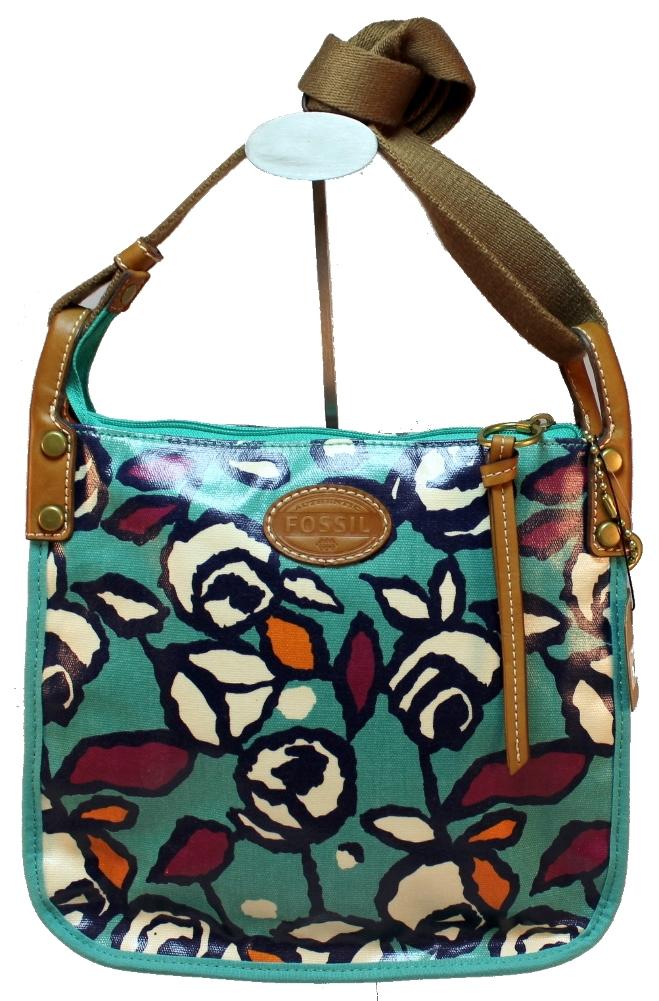 Fossil Coated Canvas Spring Floral Roses Keyper Crossbody Purse Handbag New | Dragonfly Whispers