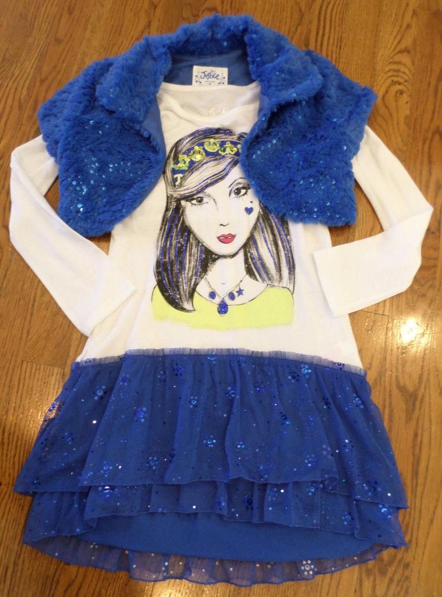 Justice 8 10 2 pc blue white sequin princess dressfur shrug holiday
