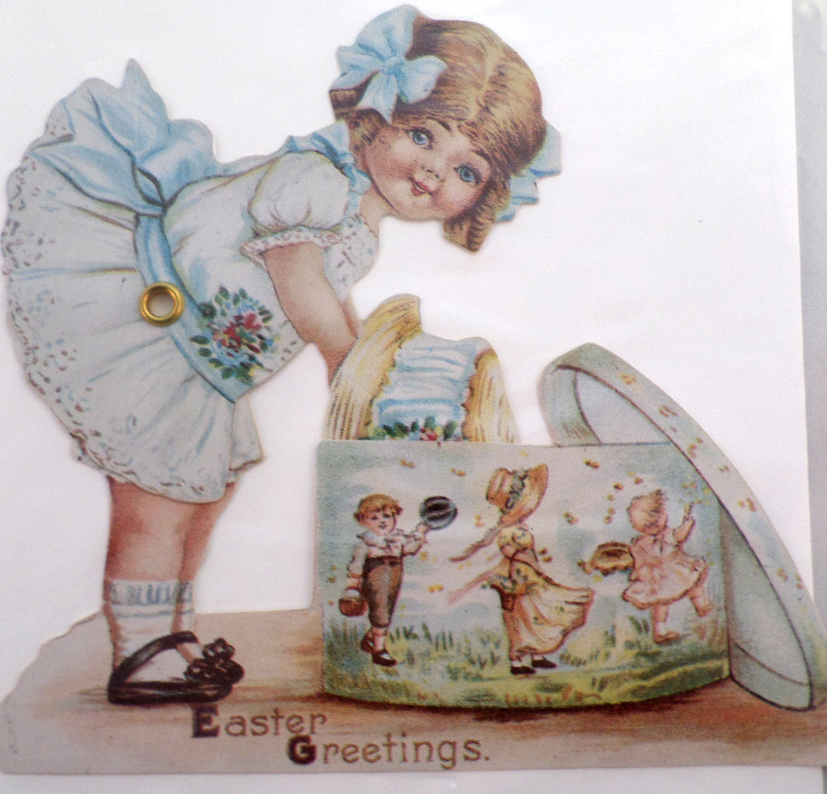 Victorian Turn Of The Century Happy Easter Card Movable Rivet Girl – Victorian Easter Cards
