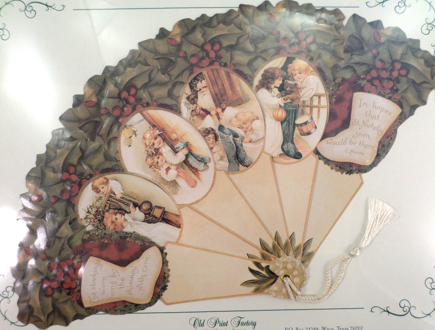 Vintage Inspired Victorian Paper Fan Greeting Card
