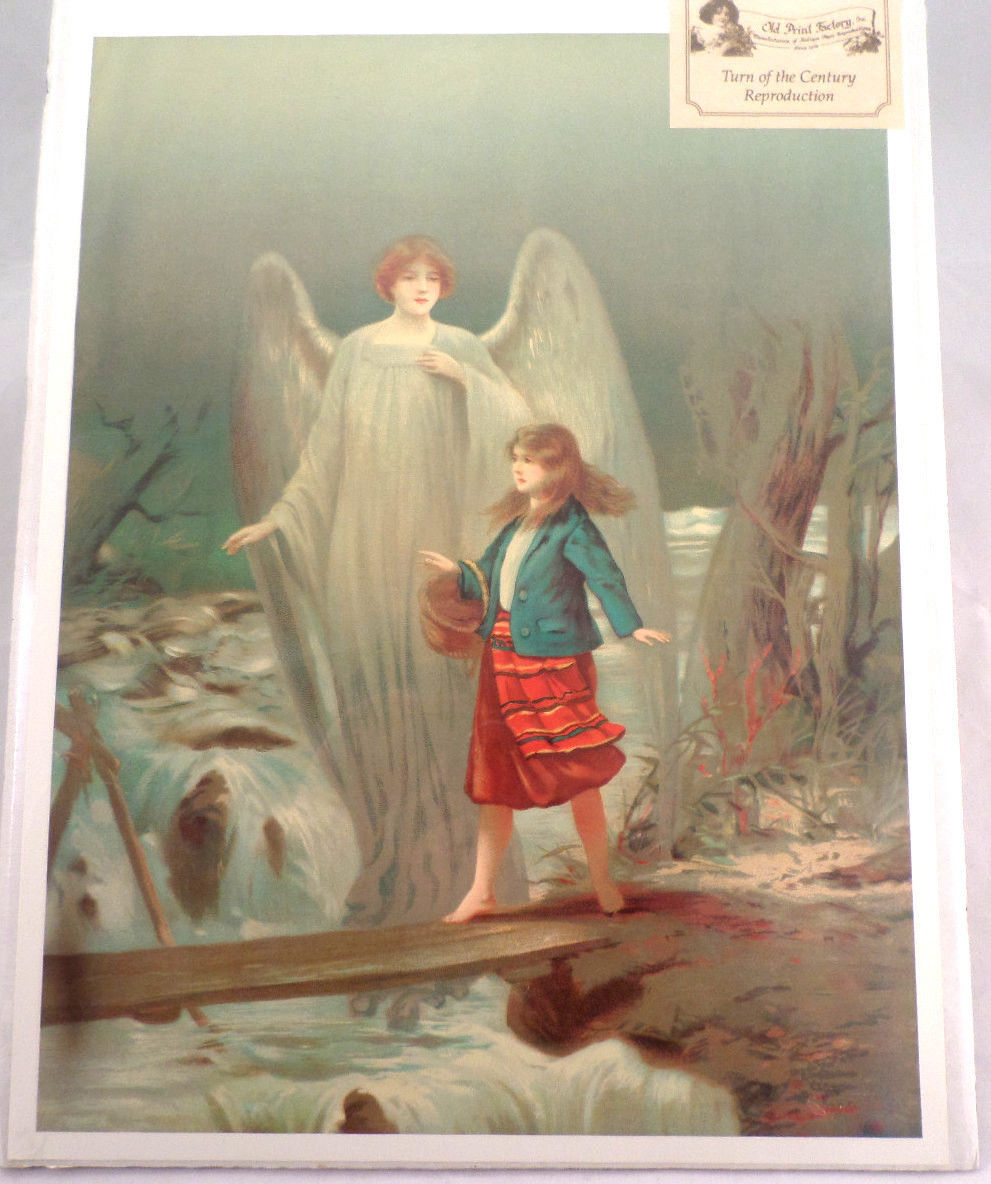 Guardian angel vintage print