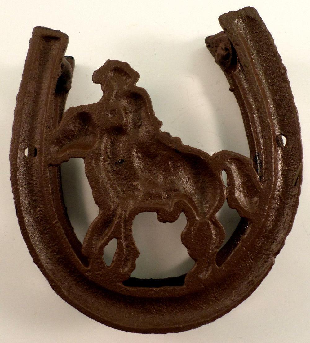 Cowboy silhouette cast iron horse shoe western door knocker metal - Horse door knocker ...