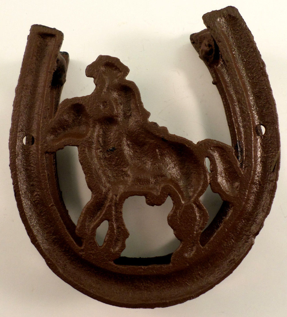 ... Cowboy Silhouette Cast Iron Horse Shoe Western Door Knocker Metal & Cowboy Silhouette Cast Iron Horse Shoe Western Door Knocker Metal ...