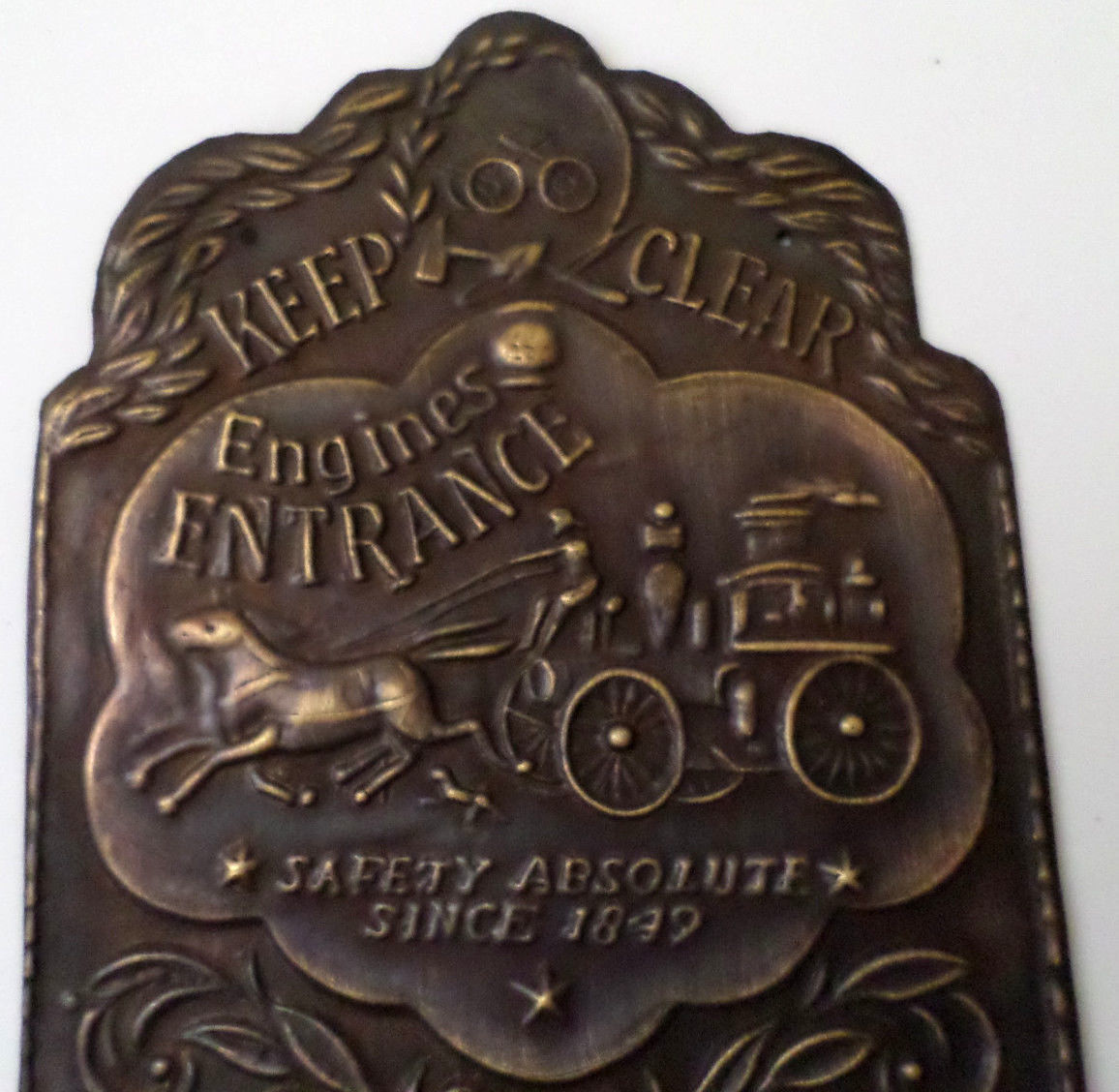 Firehouse Door Plaque Wall Sign Solid Brass Engine