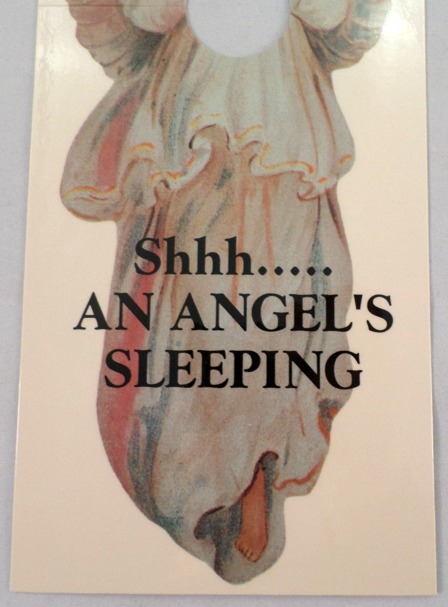 Door Knob Note Hanger Victorian Shhhh Angel Sleeping Nursery Notice Sign