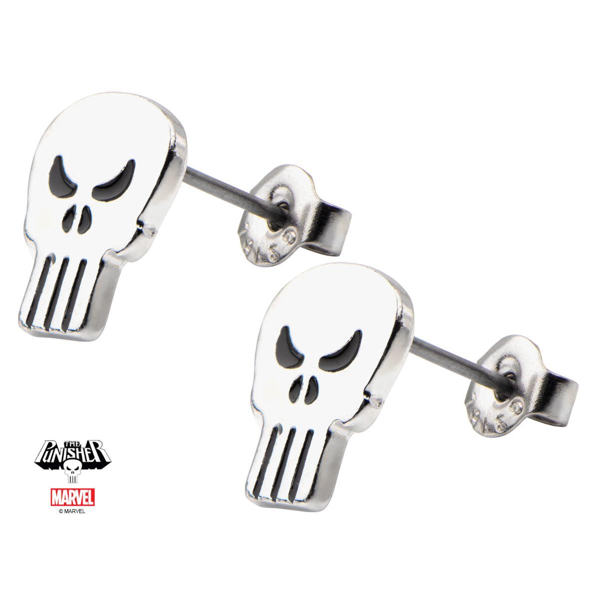 Inox Women'S Stainless Steel Punisher Skull Stud Earrings