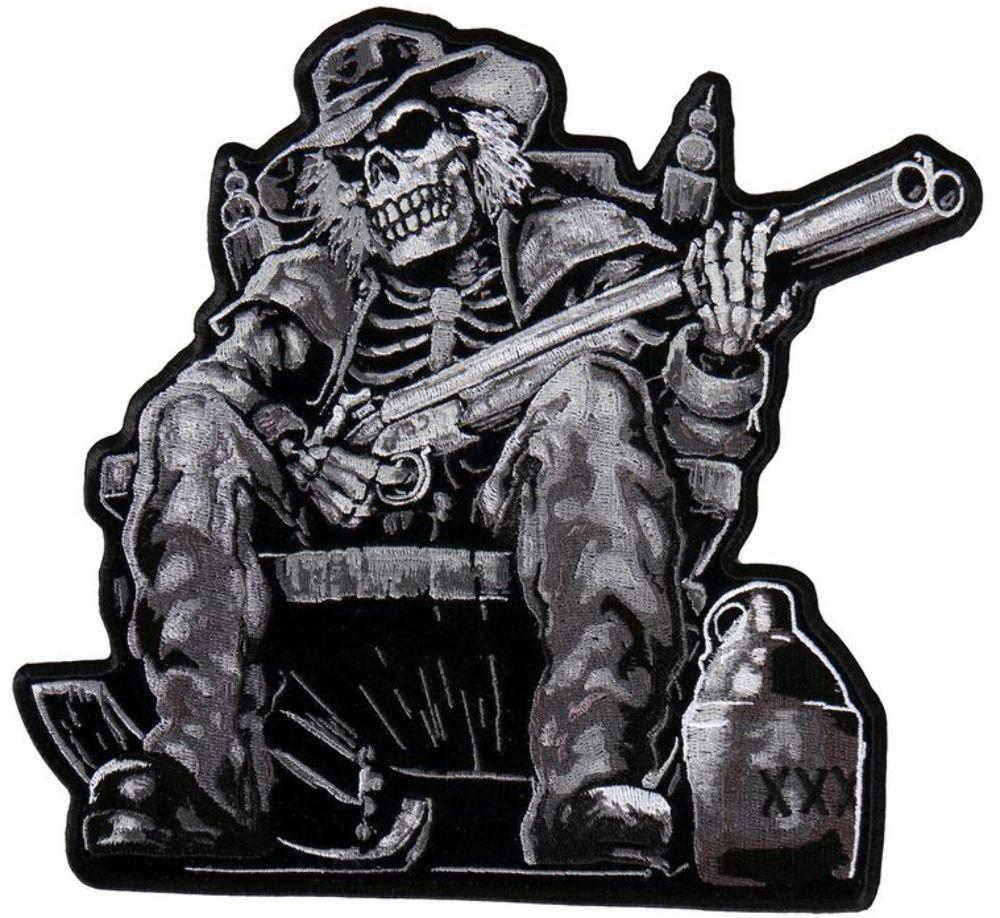 Moonshine Skeleton With A Shotgun Motorcycle Uniform Patch