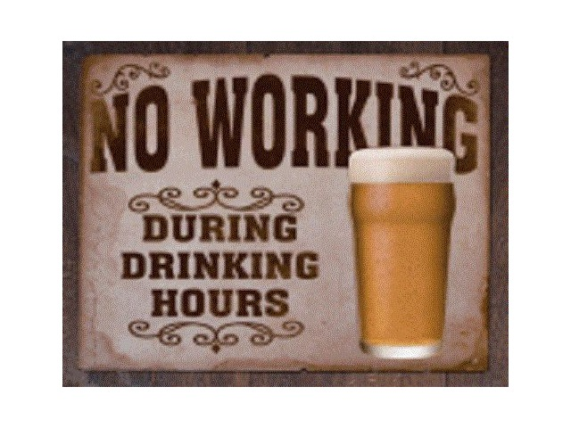 Man Cave Hours : No working during drinking hours tin sign man cave wall art bar