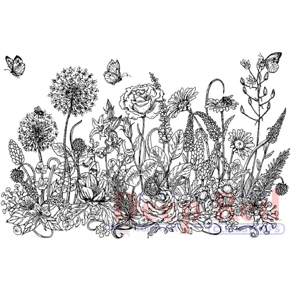 Deep Red Rubber Cling Stamp Summer Wild Flowers Border