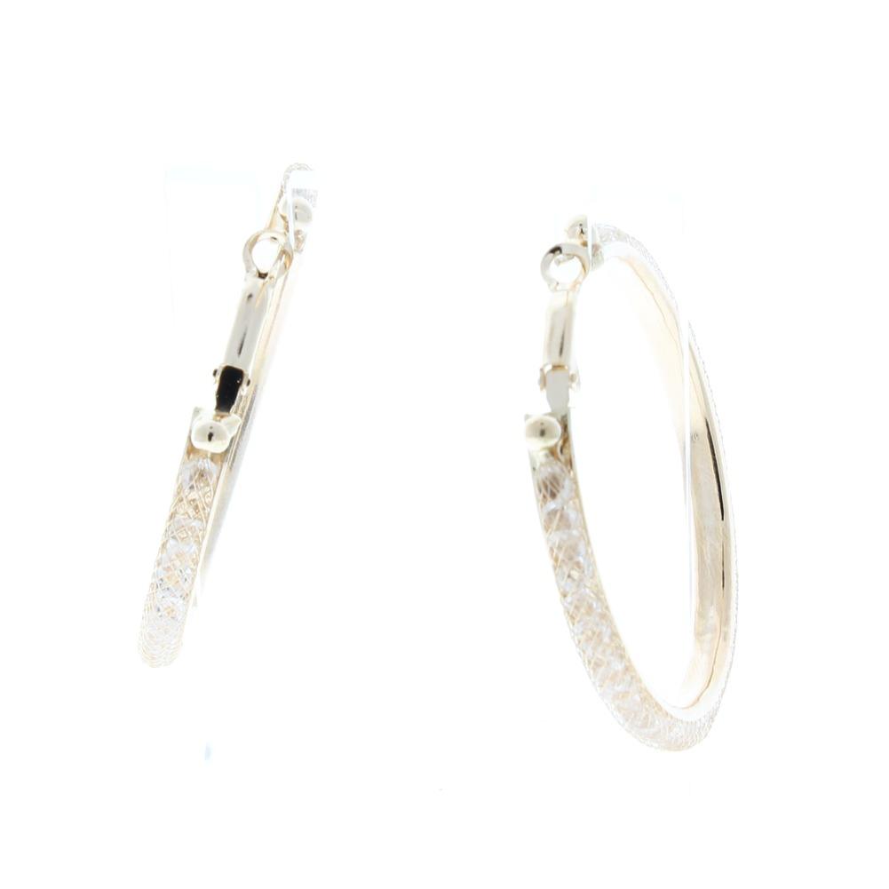 Mesh Wire Hoop Earrings With Crystals Inside 2\