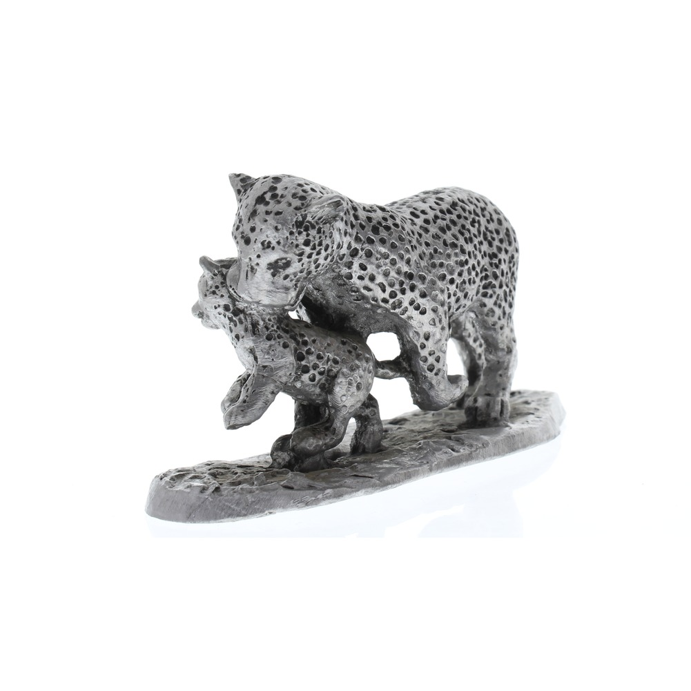 Handcrafted Solid Xl Pewter Leopard And Baby Cub Figurine