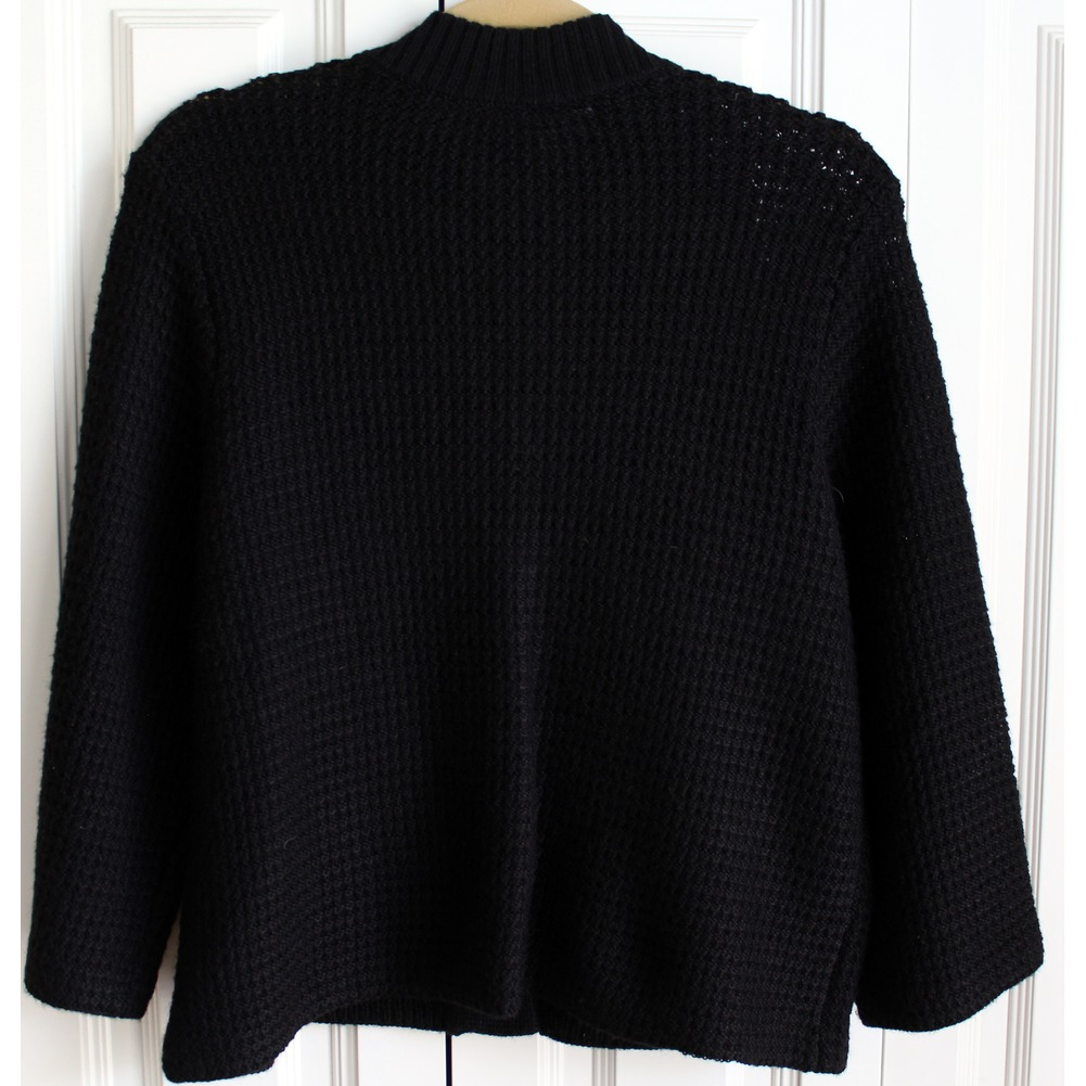 Womens Chicos Sz 2 Black Knit Snap Button Up Sweater | Dragonfly ...