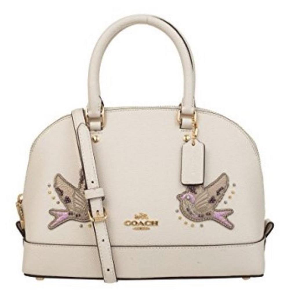 d9ab27fb65ce ... promo code coach mini sierra white satchel handbag dome purse with pair  of birds 906b9 88ed4