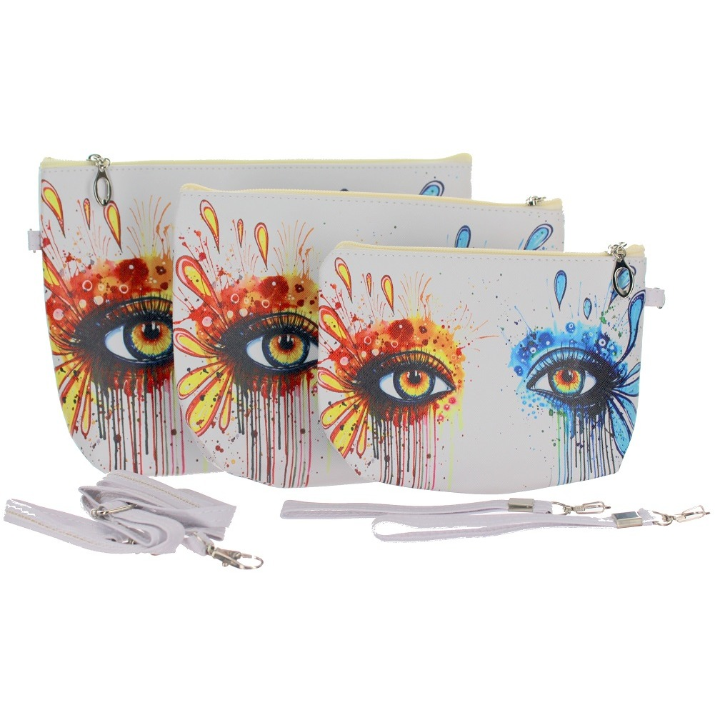 Artistic Eyes Fashion Cosmetic Bag Wristlet Trio Small Medium Large