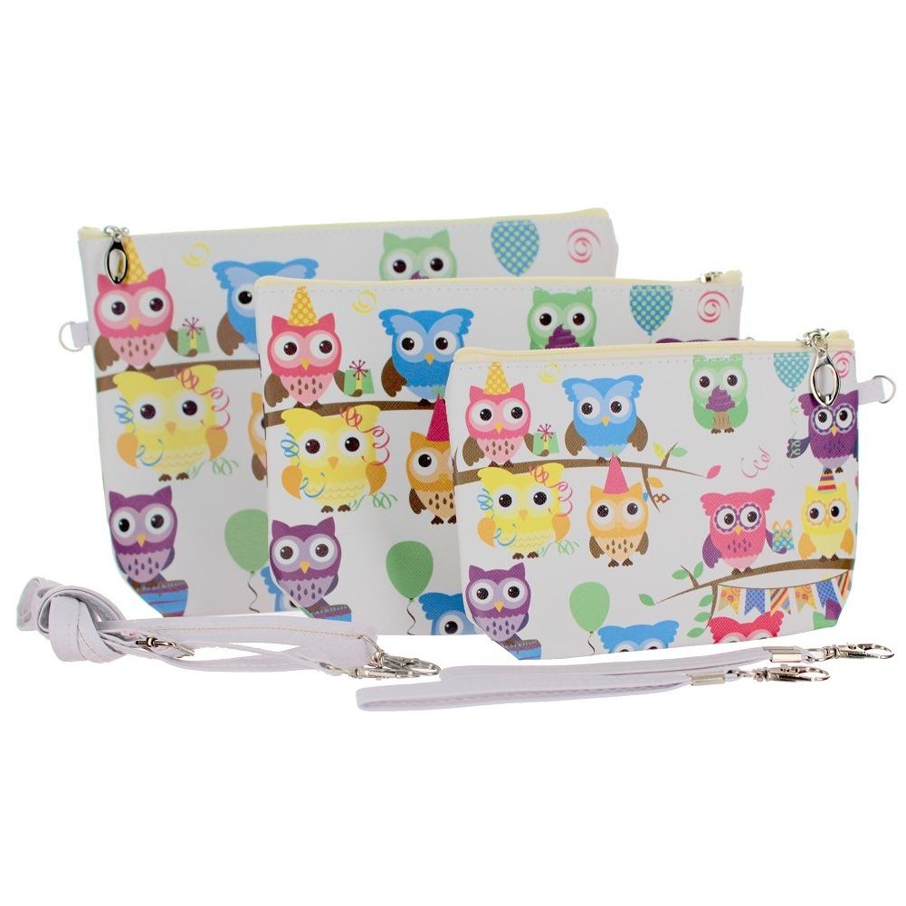 Hoot Hoot Owls Cosmetic Bag Wristlet Trio Small Medium Large