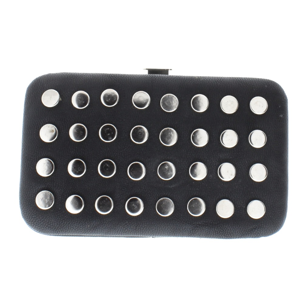Black Faux Leather Studded Credit Card Business Card Holder Wallet ...