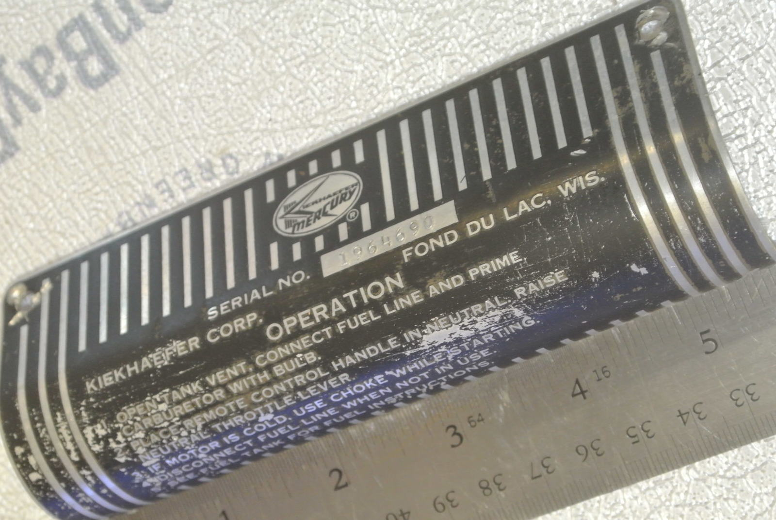 Vintage Mercury Kiekhaefer Outboard Serial Number Plate