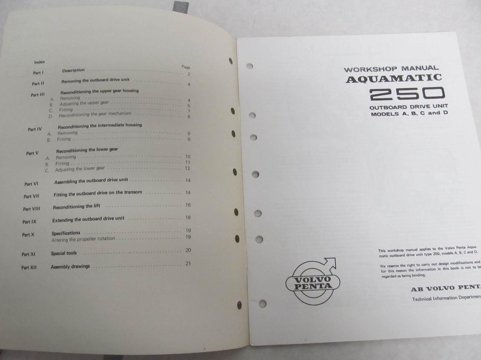 2284 1969 volvo penta aquamatic 250 service workshop Volvo Penta Workshop Manual Volvo Penta Troubleshooting