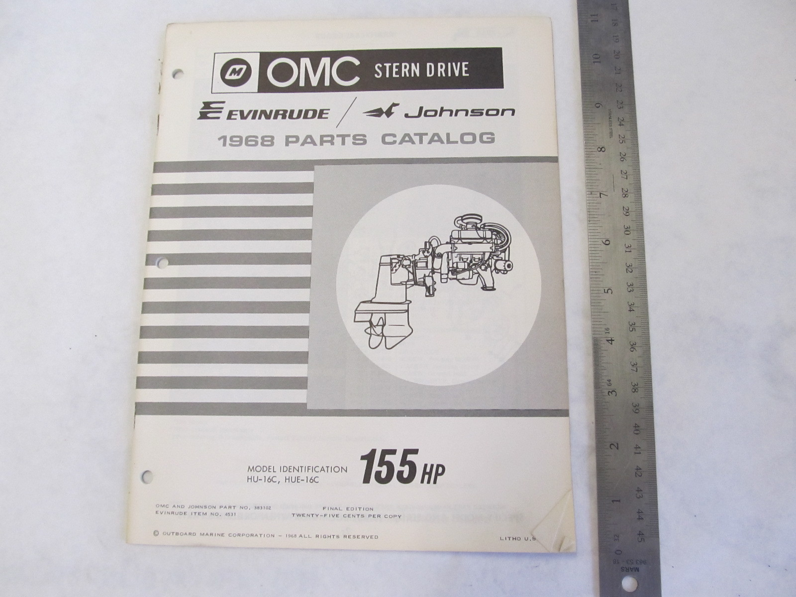 Sell 1968 OMC Stern Drive Parts Catalog 155 HP HU-16C HUE-16C