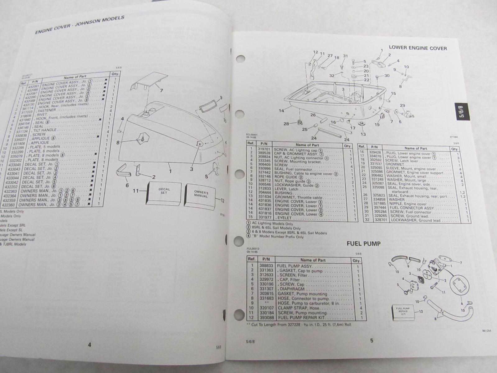 432878 omc evinrude johnson 1989 outboard 5 8 hp parts. Black Bedroom Furniture Sets. Home Design Ideas