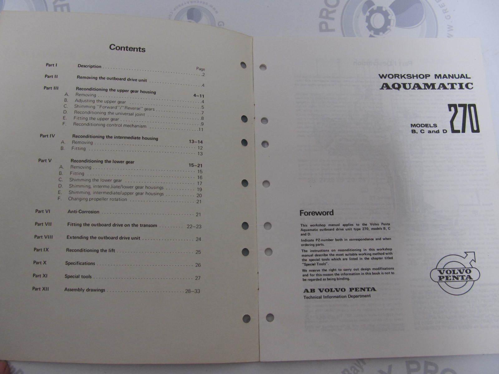 7724371 5 volvo penta aquamatic service workshop manual Volvo Penta Outdrive Volvo Penta Outdrive
