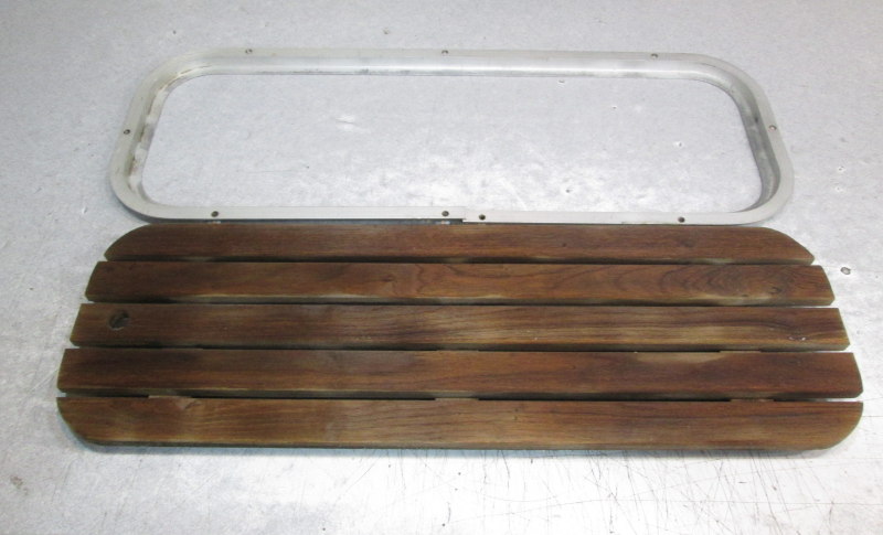 Teak wood boat floor deck ski hatch cover aluminum frame
