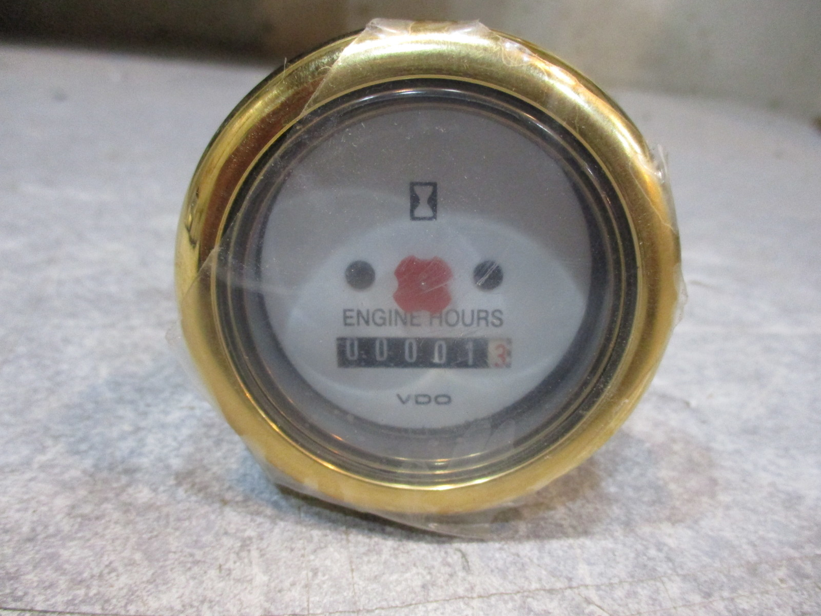 White Hour Meter : Marine boat vdo engine hour meter gauge quot white face gold