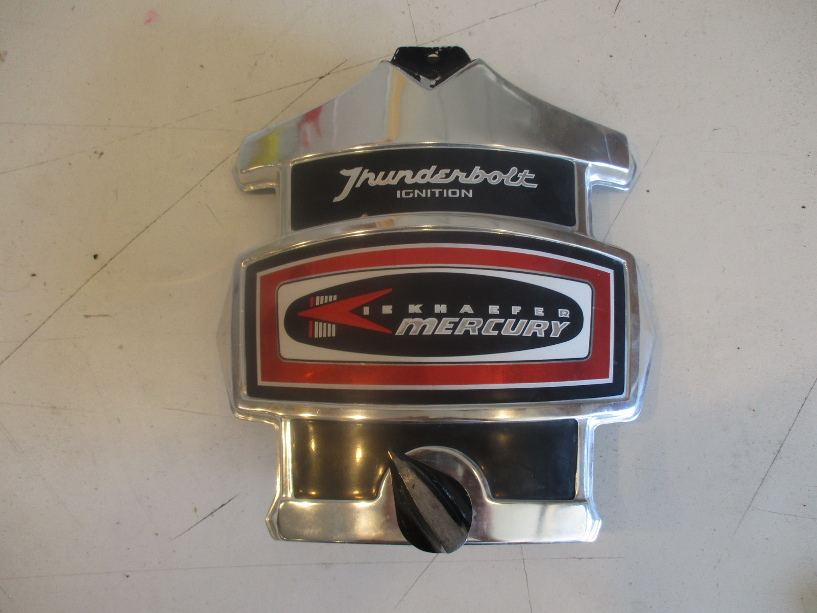 Mercury outboard thunderbolt 4 cylinder red decal chrome for Mercury outboard motor cowling