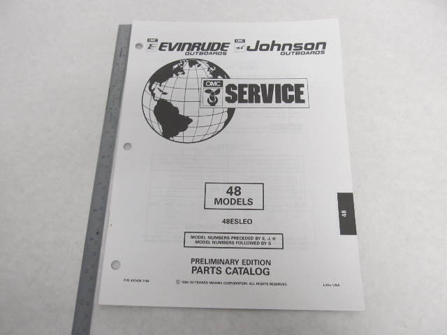 1995 Evinrude Johnson Outboard Parts Catalog 48 Hp Green