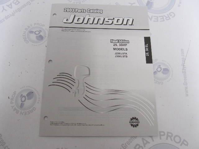 5005325 OMC BRP Johnson 25-30 HP EL Outboard Parts Catalog 2003