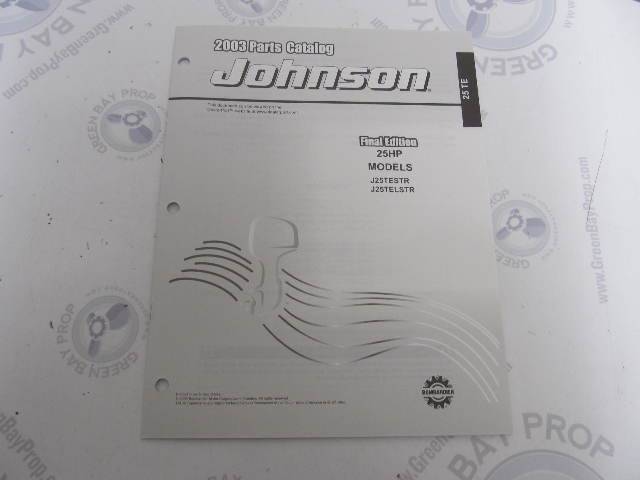 5005326 OMC BRP Johnson 25 HP TE Outboard Parts Catalog 2003