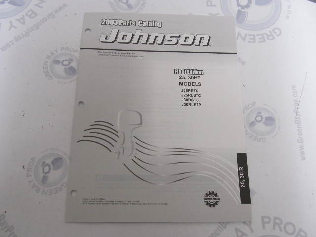5005327 OMC BRP Johnson 25-30 HP R Outboard Parts Catalog 2003