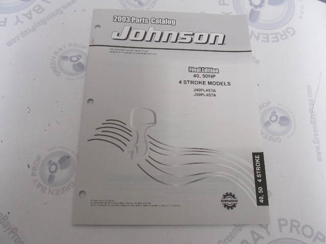 5033319 OMC BRP Johnson 40-50 HP 4-Stroke Outboard Parts Catalog 2003