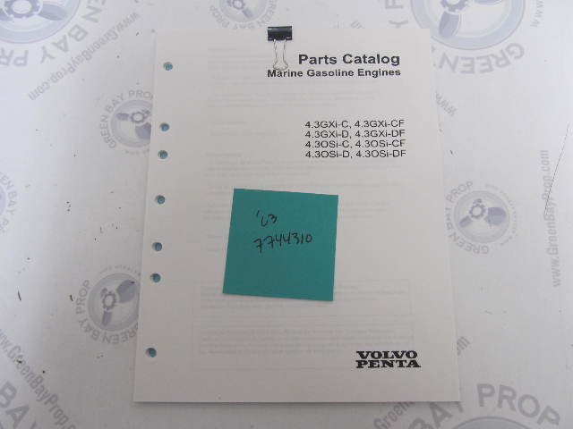 7744310 2003 Volvo Penta Stern Drive Parts Catalog 4.3L GXI OSI