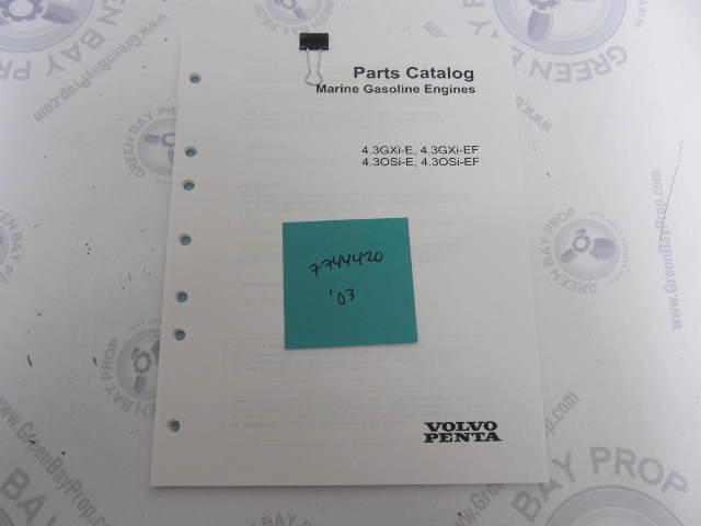 7744420 2003 Volvo Penta Stern Drive Parts Catalog 4.3L