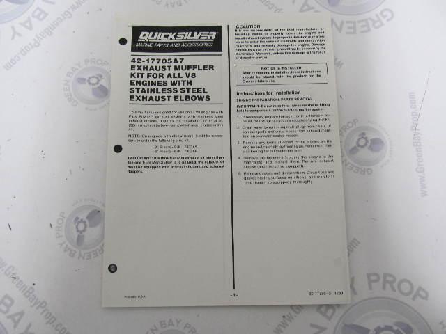 90-17786-3 Quicksilver V8 Exhaust Muffler 42-17705A7 Installation Instructions 1990