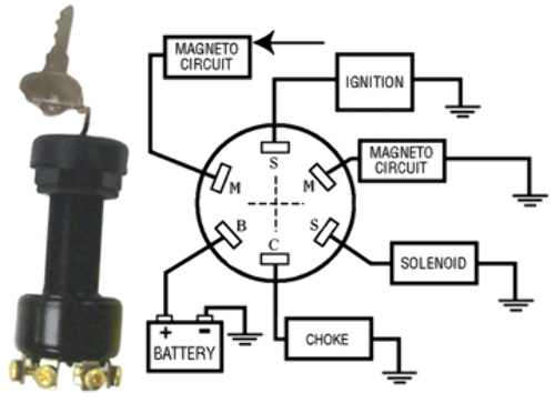 mp39090 ignition switch, long, 3-position magneto-off-run ... mercury outboard motor ignition switch wiring diagram with choke push to choke ignition switch wiring diagram