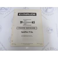 278652 1965 Evinrude Outboard Parts Catalog 75 HP Speedifour