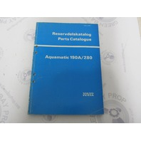 3271 Volvo Penta Parts Catalog Aquamatic 190A/280 1976